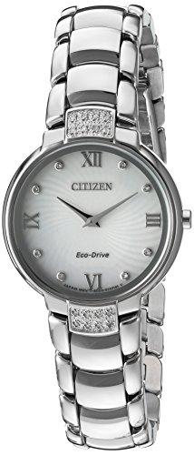 Citizen Women's 'Eco-Drive Diamond' Quartz Stainless Steel Dress Watch, Color:Silver-Toned (Model: EX1460-55A) (Drive Ladies Eco 55a)