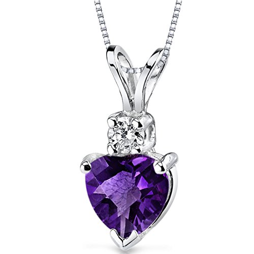 (14 Karat White Gold Heart Shape 0.75 Carats Amethyst Diamond Pendant)