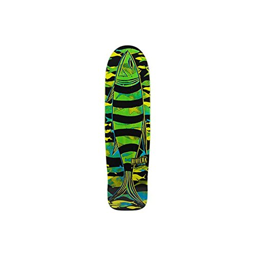 Riviera Fish Stick III Skateboard Deck with Multicolor Graphics, Natural Wood, 9