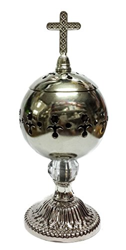 Handmade Silver Censer Polished Brass Jerusalem Church Incense Burner Distiller
