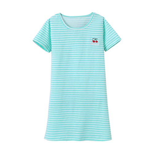 Allmeingeld Kids Girls' Stripes Nightgowns Cherry Sleep Shirts Christmas Pajamas Green 10