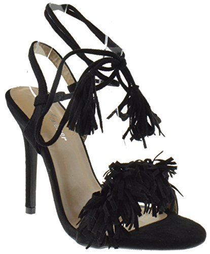 Rubina 57 Womens Fringe Open Toe High Heel Sandals Black 8.5