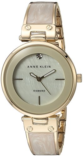 Gold Tone Ivory Dial - Anne Klein Women's AK/2512IVGB Diamond-Accented Dial Gold-Tone and Ivory Bangle Watch