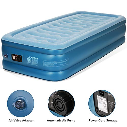 MARNUR Twin Air Mattress Inflatable Airbed Electric Air Mattress with Built-in Pump Storage Bag at Home or Camping for Guests Home Office Travel Height 18
