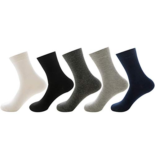 levliong Mens Socks,Fashion Formal Crew Dress Everyday Calf Socks Plain Elastic Cuff