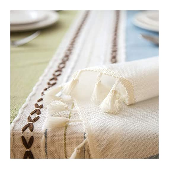 """Enova Home Elegant Rectangular Thicken Cotton and Linen Tablecloth with Tassels Dust Proof Table Cover for Kitchen Dinning Tabletop Decoration (Turquoise and Light Blue, 54""""x 78"""") - Composition: 90% Cotton 10% Linen Handmade/Hand-dyed by local skilled artisan in the middle of China Size:Approximately 54"""" x 78"""" Rectangle (140cm x 200cm) - tablecloths, kitchen-dining-room-table-linens, kitchen-dining-room - 41%2Bcbzk25qL. SS570  -"""