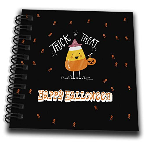 3dRose Beverly Turner Halloween Design - Trick or Treat, Happy Halloween, Candy Corn with Hat and Pumpkin Bag - Mini Notepad 4 x 4 inch (db_300621_3)]()