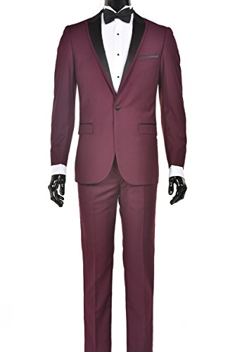 Men's Classic Black Formal Tuxedo Suit - Ultra Soft Fabric (42 Regular, Burgundy and Black Slim Fit)