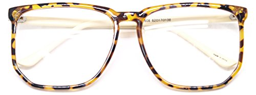 Big Square Horn Rim Eyeglasses Nerd Spectacles Clear Lens Classic Geek Glasses (Leopard Beige7808, - Frame For Large Men Glasses