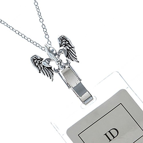 - Antique Silver toned Fleur De Lis Angel Wing ID Card Badge Holder Necklace (Approx 30-inch Length)
