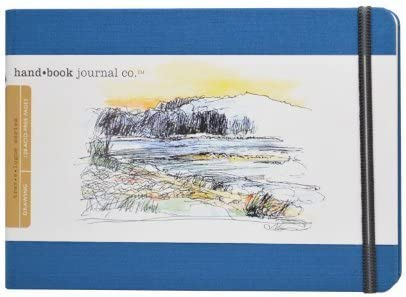 Global Art Materials 5-1/2-Inch by 8-1/4-Inch Drawing Book, Large Landscape in Ultramarine Blue by Global Art Materials