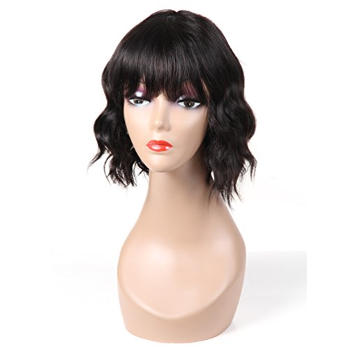 """Search : Urbeauty 10"""" Loose Deep Wave Wigs for African American Women 130% Density Human Hair Wigs with Flat Bangs Machine Made None Lace Wig with Straps"""
