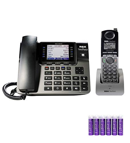 RCA U1100 Unison 4-Line Wireless Phone System - Landline Telephone with Built-in Digital Answering Machine Bundle with RCA U1200 DECT 6.0 Cordless Accessory Handset and 6 Blucoil AAA Batteries