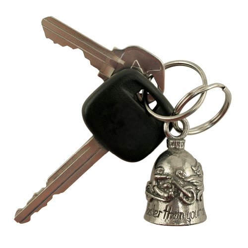 Guardian Angel Pewter Bell Keychain for Bikers - Lucky Charm USA -