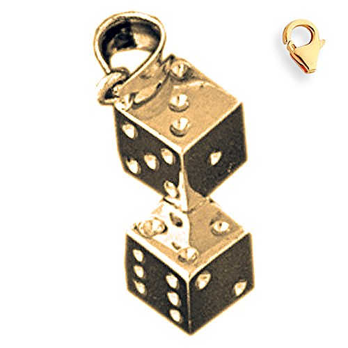 Jewels Obsession Dice Pendant | 14K Yellow Gold Dice Charm Pendant - 20mm