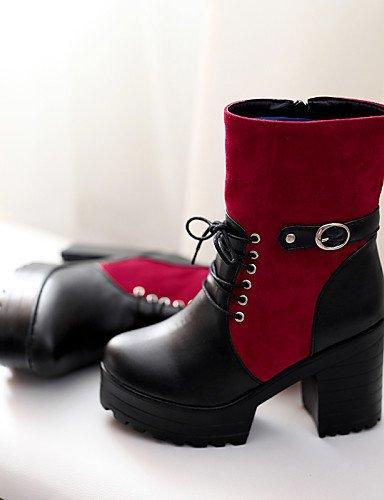Botas Zapatos negro Moda Vestido Semicuero Cn38 De La us8 Mujer Robusto Eu39 Redonda Black 5 us7 Cn39 A Plataforma Uk5 Punta Eu38 Tacón 5 Uk6 Casual Brown Vellón Xzz 8dwaqP8