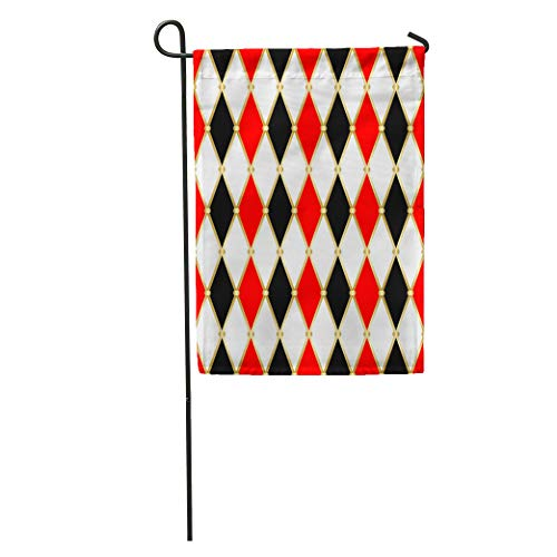 - Semtomn Garden Flag Circus Harlequin Patterns Golden Grid Red White and Black Rhomboids Home Yard House Decor Barnner Outdoor Stand 28x40 Inches Flag
