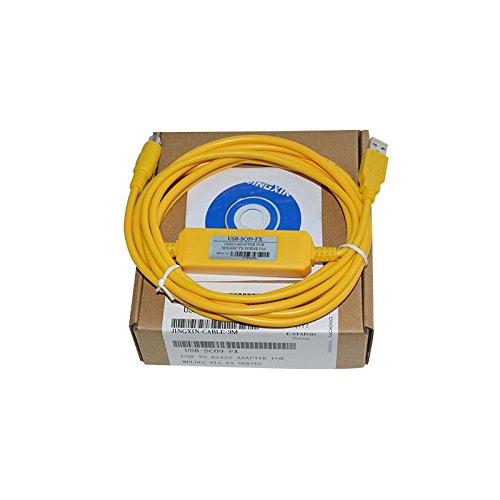 Washinglee FX USB PLC Programming Cable for Mitsubishi FX Series, for Taiwan Shilin AX Series, for USB-SC09-FX Replacement, Yellow, 6 FT, 3 Options. (FX Series)