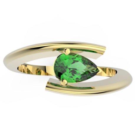 HABY POIRE Bagues Or Jaune 18 carats Tsavorite Vert 0,6 Poire