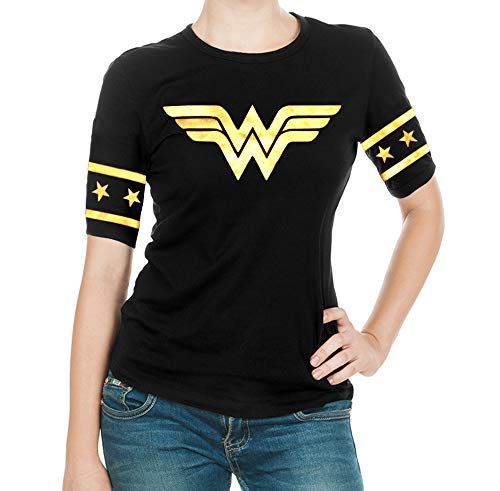 Wonder Woman Gold Foil Superhero Shirt - Adult Black Gold Logo T Shirt for Women by Miracle (L)