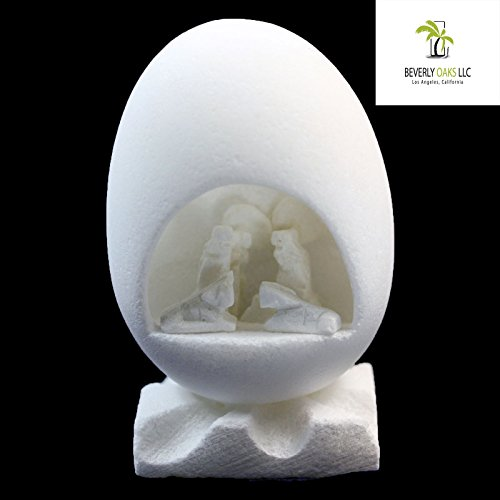 Hand Crafted Alabaster Nativity Scene Egg by Beverly Oaks LLC