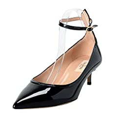 Valentino Women's Patent Leather Black Ankle Strap Kitten Heels Shoes