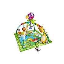 Fisher-Price - Gimnasio deluxe animalitos de la selva, manta de juego bebé (Mattel DFP08)