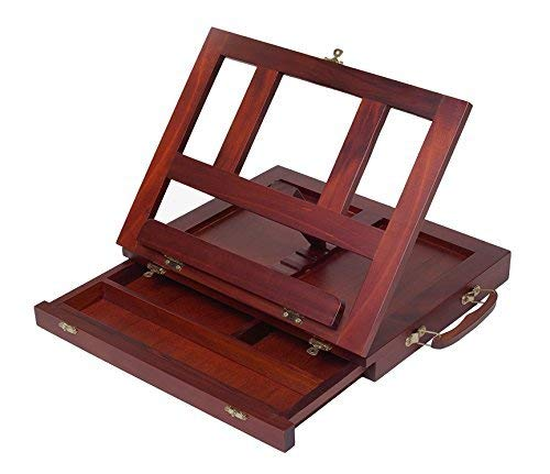 ZagGit Desktop Adjustable Mahogany Wood Art and Book Easel - Light Weight, Sturdy with Storage Drawer ()