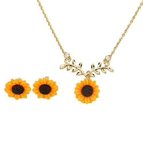 Timoo Sunflower Pendant Necklace Sunflower Earring Set Handmade Sunflower Charm for Women Girls ()
