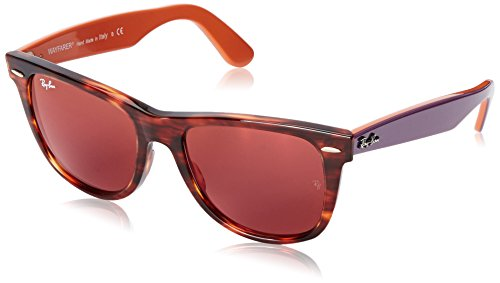 Ray-Ban WAYFARER - STRIPED HAVANA Frame BROWN MIRROR DARK RED Lenses 54mm - Paris Red Sunglasses