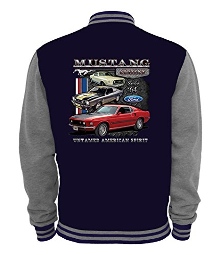 Ethno Designs - Ford Mustang Untamed - Womens & Mens Hot Rod Varsity Jacket - Old School Rockabilly Retro Style, navy/sportsgrey, size - Retro Ford