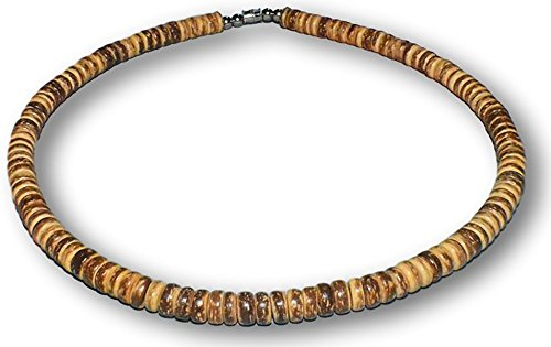 Tiger Brown Bracelet - Native Treasure Brown Tiger Coco Shell Surfer Necklace - 8mm (5/16) (20 Inches)
