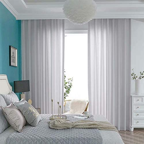 MacoHome Grey Chiffon Semi Sheer Curtains 100 x 96 inch Satin Velour Voile Panels Grey
