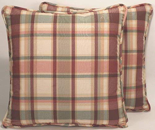 "A set of 2 18"" Purple Green Tan Moire Plaid Handmade Decorative Throw Pillow Covers"