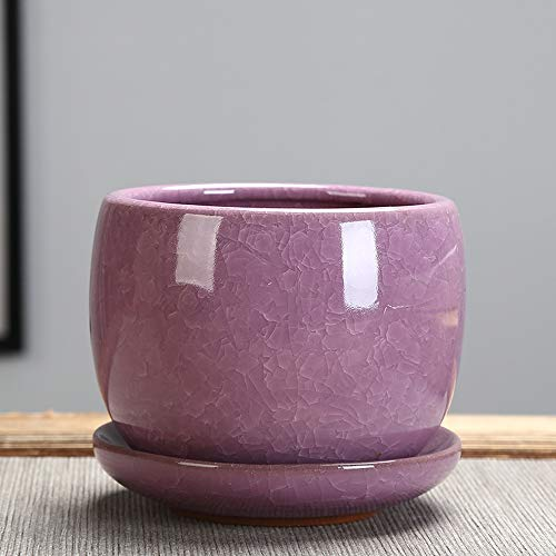 (BPTCHP Ice Cracked Glazed Ceramic Flower Pot Jelly Purple Sand Succulent Flower Green Plant Planter Indoor Outdoor Planters Home and Office Decor Ceramic Succulent Plants Pot (Color : Pink))