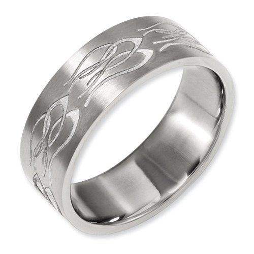 - 8mm Brushed Finish Flat Pipe Cut Laser Engraved Flame Pattern Design Titanium Wedding Band - Size 13