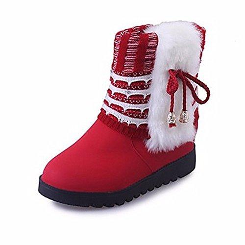 Red Di Punta Casual Winter Nero Boots Tallone Zhudj Stivali Chunky Tonda Giallo Donna Rosso Abbigliamento Bowknot Scarpe Snow OPSwOxq8TF