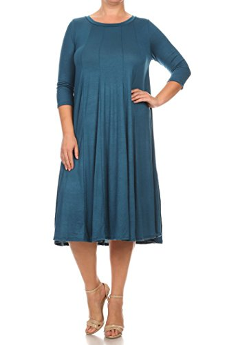 Fashion Stream Women's Pleated Detailing A-Line Plus Size Solid Dress. Made In USA (2X, (Solid Kimono Style Dress)