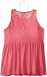 Amy Byer Big Girls\' Lace to Solid Racerback Babydoll with Necklace, Coral, XL