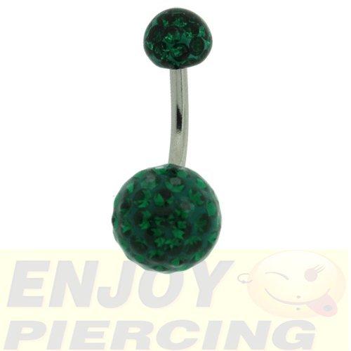 Piercing Nombril Cristal Line Double Charme Vert Emeraude