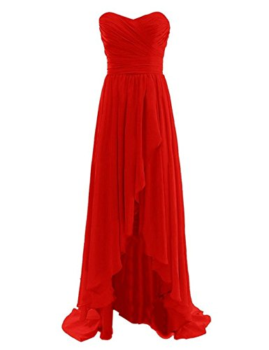 Belle Lady Women's High Low Prom Dresses Chiffon Bridesmaid Dress Evening Gown Red US6