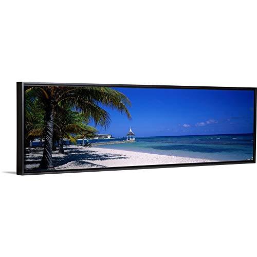 (Floating Frame Premium Canvas with Black Frame Wall Art Print Entitled Beach at Half Moon Hotel, Montego Bay, Jamaica 36