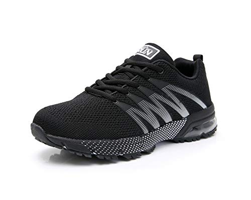 Axcone Tennis Shoes for Mens Running Breathable Air Cushion Sneakers Casual Walking Athletic Road Sports Jogging 8995BK41 Black