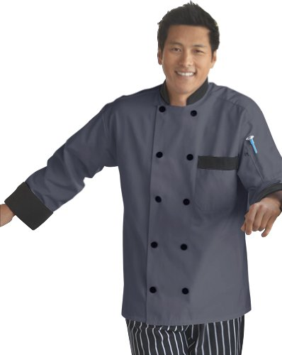 Uncommon Threads Unisex-Adults Plus Size Chef Coat 10 Btn Black Trim, Slate, 6XL by Uncommon Threads