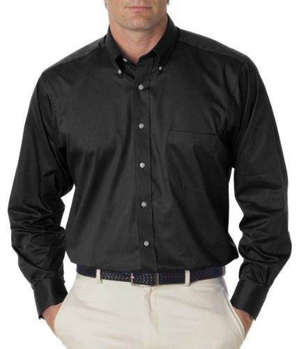 Van Heusen Men's Relaxed Twill Dress Shirt, BLACK, X-Large ()
