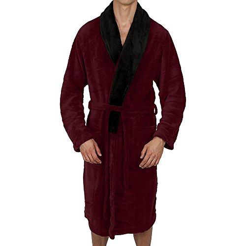 Silk Smoking Jacket - Regency New York Coral Fleece Robe (Large/X-Large, Burgundy Contrast Black Collar)