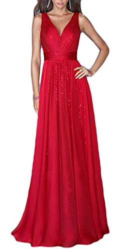 Dress Womens High Red Color Cromoncent V Swing Pleated Waist Sleeveless Deep Solid Neck Maxi 7fwOqdIg