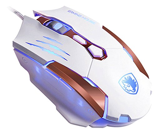 Newest Gaming Mouse SADES Q6 USB 7 Buttons Gaming Mice for Pc/Mac,3500 DPI ,4 Optical LED Colors,Metal bottom(White)