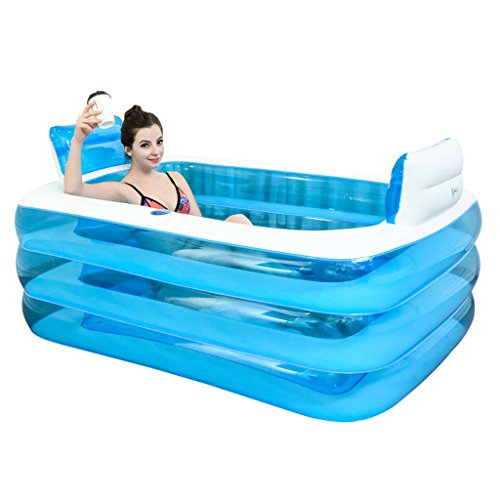 Inflatable Bathtub For Two People Adult Portable,Folding Comfortable Bath,Thicken Home Spa Massage Quality Tub Soaking Baths Inflatable Pools- Thick PVC - Tub Including System Bath Air