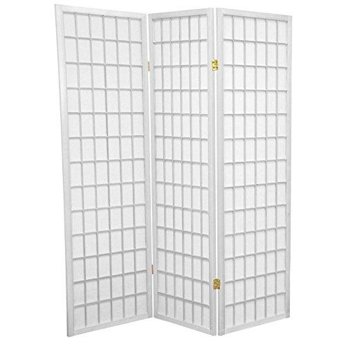 ORIENTAL FURNITURE 5 ft. Tall Window Pane Shoji Screen - White - 3 Panels